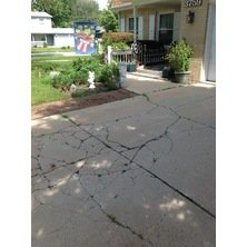 cracked concrete driveway replaced with pavers